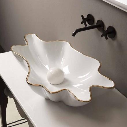 Modernes Design Aufsatzwaschbecken Keramik, weiß golfarben,Italy Rayan
