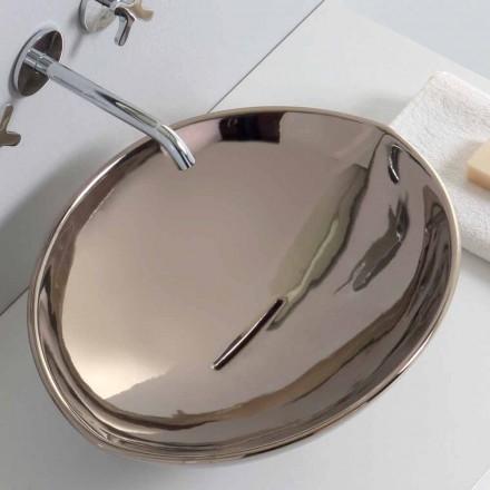 Modernes Aufsatzwaschbecken aus Platin-Keramik, hergestellt in Italien