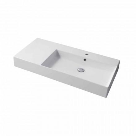 Rechte Einloch-Waschtischplatte oder Wandspüle aus Keramik Leivi