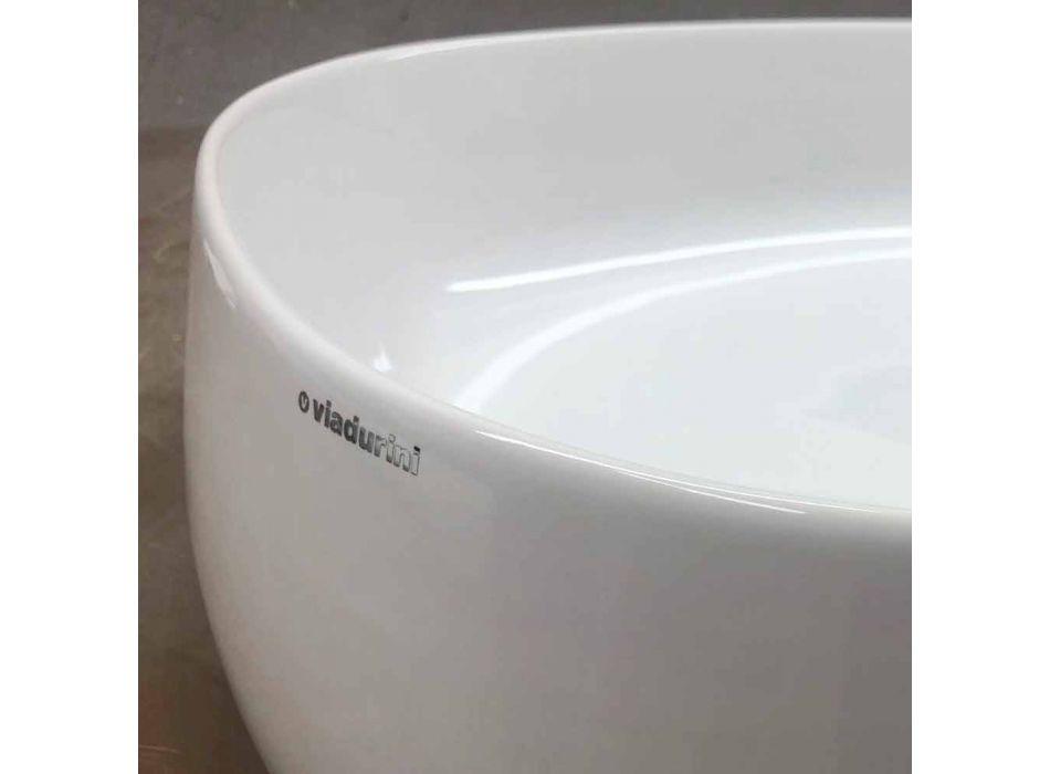 Modernes Design Oval Arbeitsplatte Waschbecken in Keramik Made in Italy - Zarro