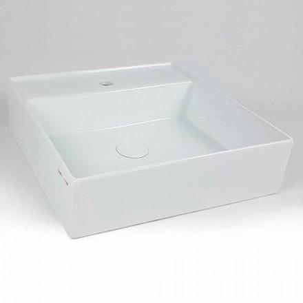 Modernes quadratisches Aufsatzwaschbecken aus Keramik - Piacione