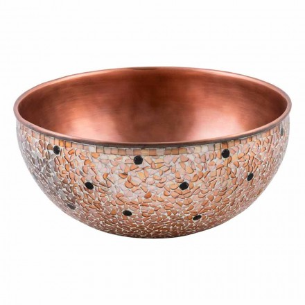 Rundes handgearbeitetes Aufsatzwaschbecken aus Kupfer, Murello, Unikat
