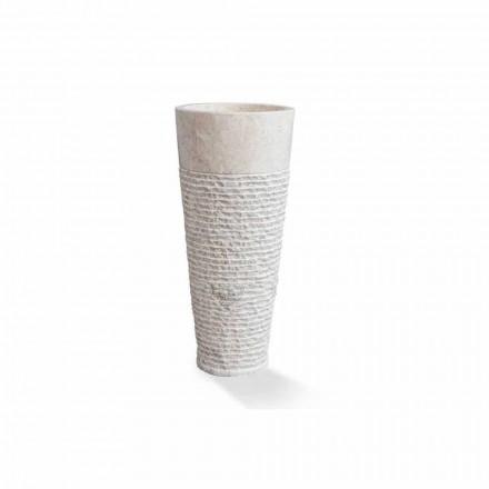 Modernes freistehendes Säulenwaschbecken aus weißem Marmor - Merlo