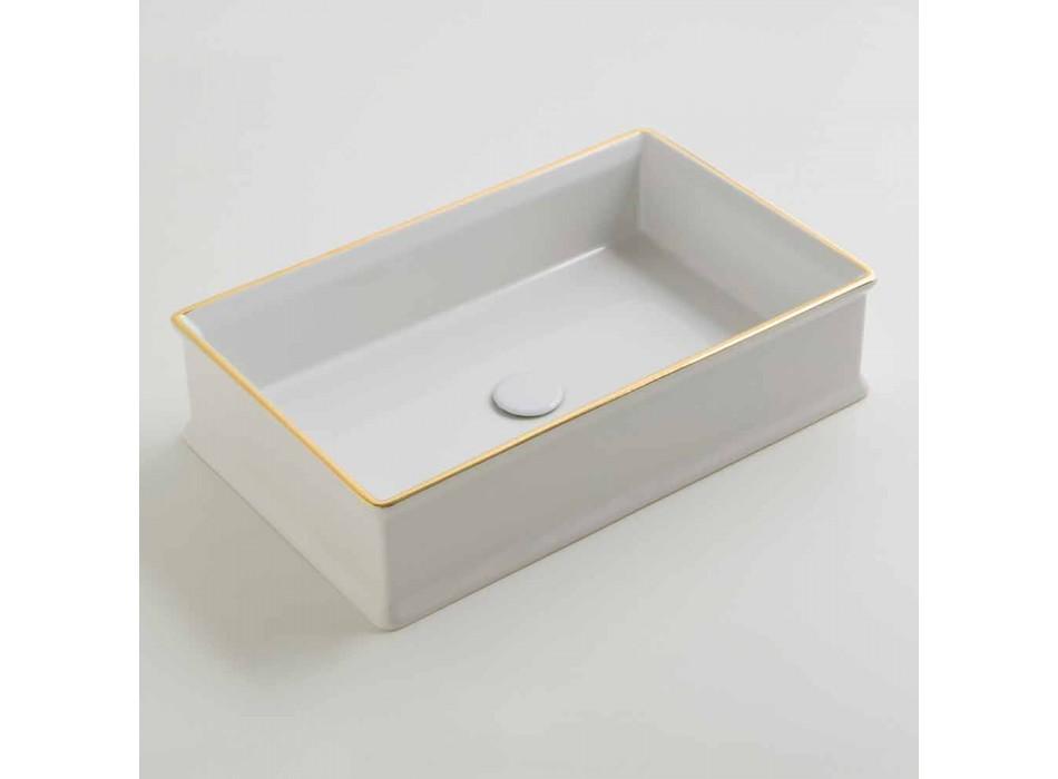 Designer Keramik-Aufsatzwaschtisch mit Goldrand aus Italien Debora