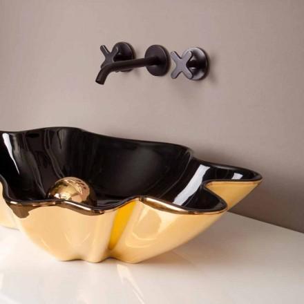 Design Aufsatzwaschbecken aus schwarzer/golfarbener Keramik Rayan