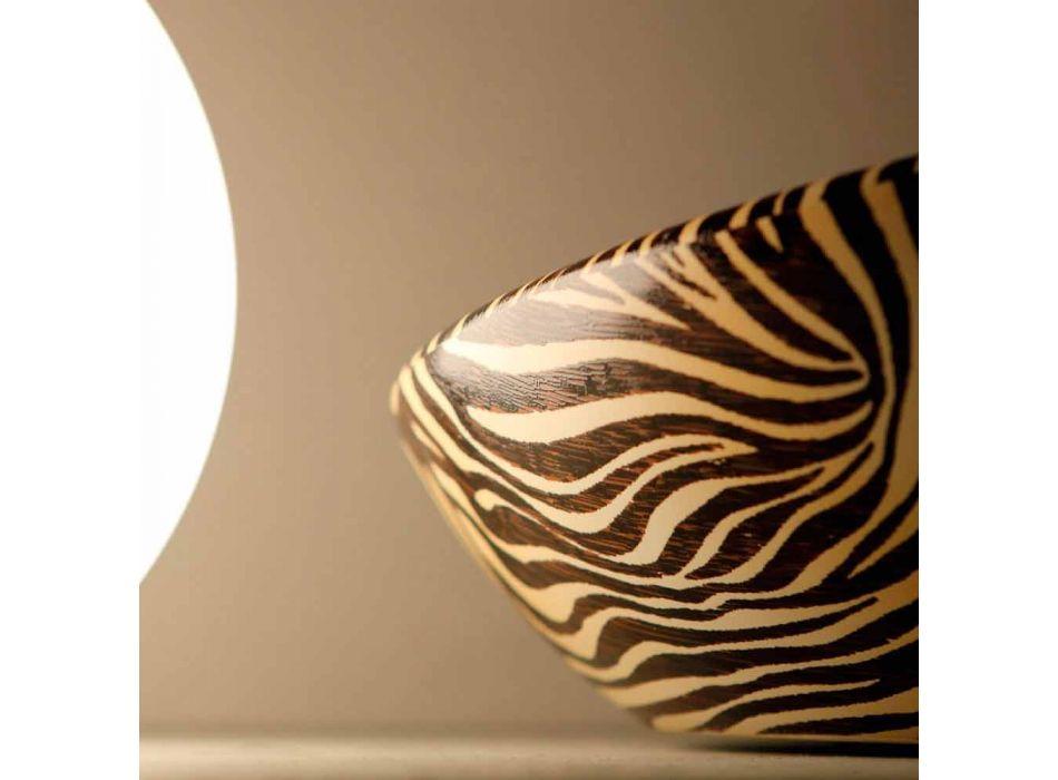 Designer Keramik-Aufsatzwaschtisch mit orangefarbenem Zebra Made in Italy Glossy