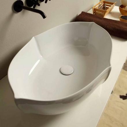 Weißes Aufstatzwaschbecken aus Keramik made in Italy Design Oscar