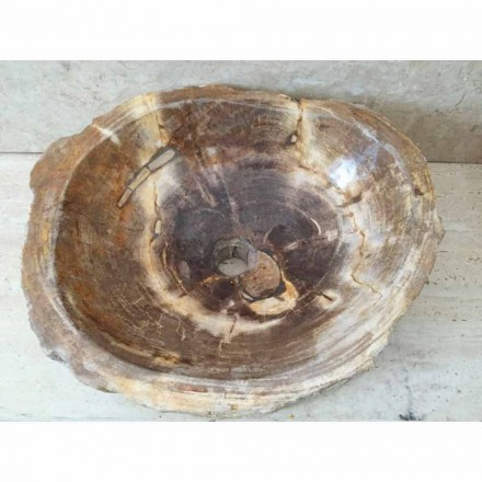 Badezimmer Aufsatzwaschbecken aus versteinertem Holz Star Big, handgefertigt