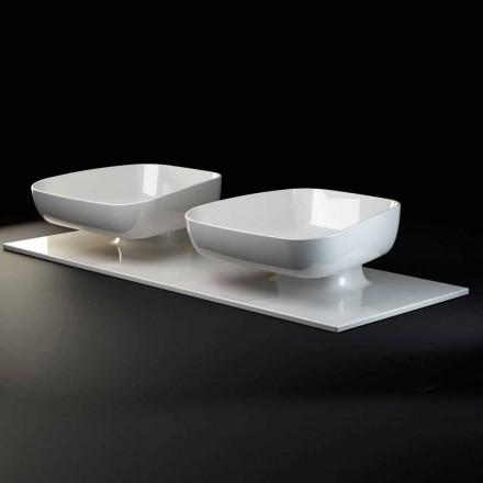 Doppelte moderne Aufsatzspüle aus italienischer Keramik, Reale