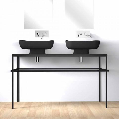 Modernes Doppelwaschbecken aus Keramik made in Italy, Reale