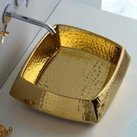 Modernes goldenes Keramik-Waschtisch aus Keramik, hergestellt in Italy Simon