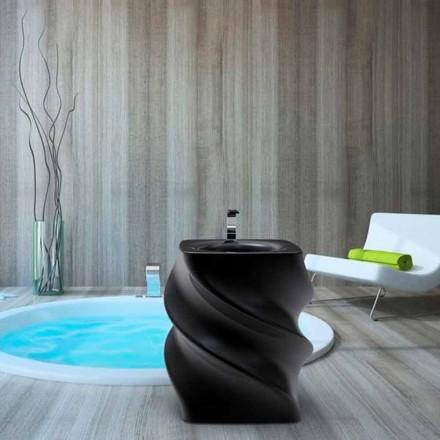 Freistehendes Design Waschbecken schwarz Twist Made in Italy