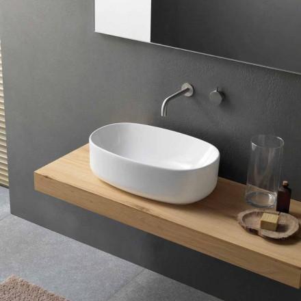 Oval Modern und Design Arbeitsplatte Waschbecken in weißer Keramik - Ventori1