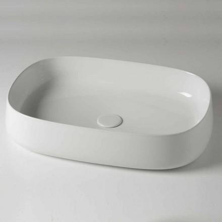 Modernes und ovales Aufsatzwaschbecken L 60 cm aus Keramik - Cordino
