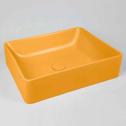 Rechteckiges Aufsatzwaschbecken L 60 cm aus Keramik - Rotolino