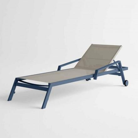 Sonnenliege im Freien aus Aluminium mit Rädern und Armlehnen Modernes Design - Carmine
