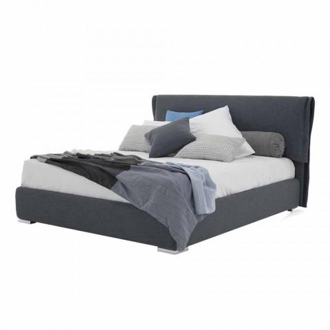 Bett mit Doppelbehälter aus Stoff oder Kunstleder Made in Italy - Runner