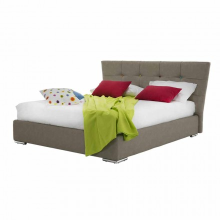 Gepolstertes Luxus-Doppelbett mit Stoff- oder Kunstlederbox - Mehl