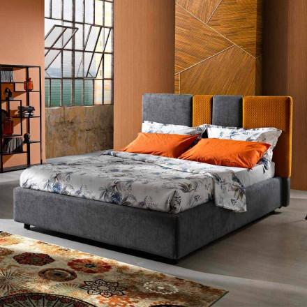 Modernes gepolstertes Doppelbett mit Falten oder gestepptem Design - Thomas