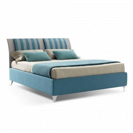 Luxus Doppelbett mit Box aus zweifarbigem Stoff Made in Italy - Gagia