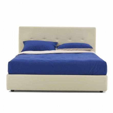 Doppelbett gepolstert und bezogen mit Kunstleder Made in Italy - Patos