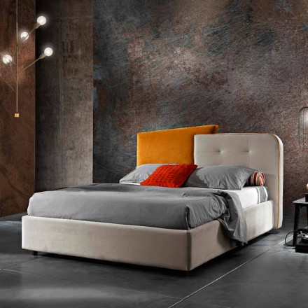 Modernes Design Doppelbett in Grau und Orange Samt - Plorifon