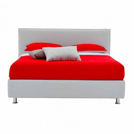 Doppelbett aus Kunstleder mit Füßen Made in Italy - Nurzio
