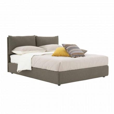 Doppelbett aus Stoff gepolstert mit schwarzen Füßen Made in Italy - Bandola
