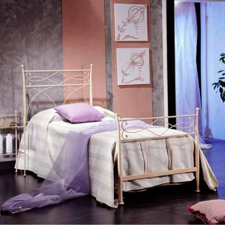 Einzelbett 85x190 aus Schmiedeeisen Made in Italy Ambra handgefertigt
