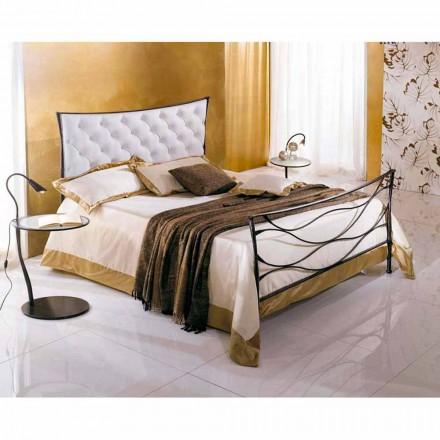 Einzelbett aus Schmiedeeisen Battuto Idra Capitonnè