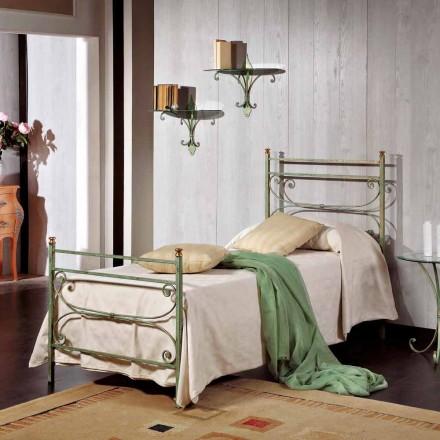 Einzelbett 85x190 cm aus Schmiedeeisen Made in Italy Leila