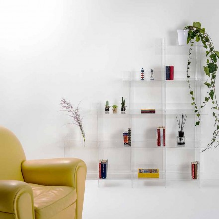 Sfera3 transparentes Wand Bücherregal L180 x H180 x P30 cm, hergestellt in Italien