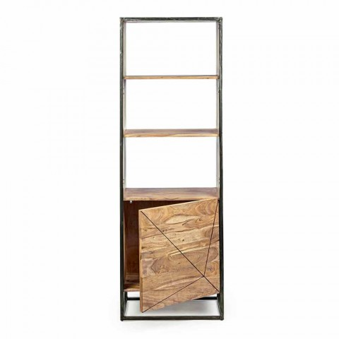Boden Bücherregal mit Struktur in Akazienholz und Stahl Homemotion - Golia