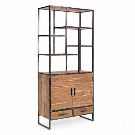 Homemotion Boden Bücherregal aus lackiertem Stahl mit Holzregalen - Zompo
