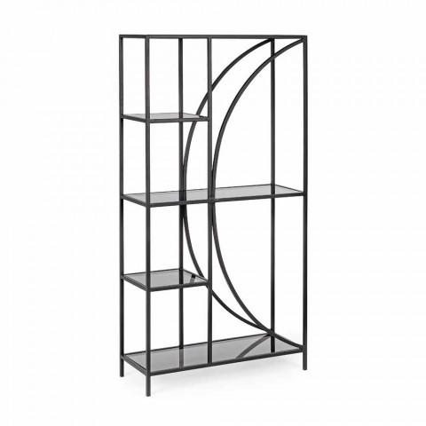 Boden Bücherregal aus lackiertem Stahl mit Homemotion Glasplatten - Lunatica