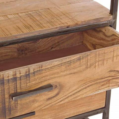Bodenregal im Industriestil aus Stahl und Holz Homemotion - Zompo
