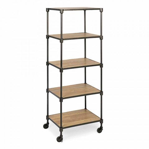 Bücherregal aus lackiertem Stahl mit Rädern und Regalen aus Teakholz Homemotion - Fulvia
