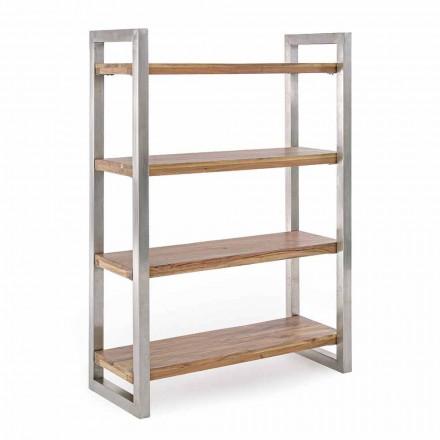 Modernes Bücherregal mit Struktur aus verchromtem Stahl und Holz Homemotion - Lisotta