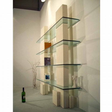 Bücherregal aus Stein und Kristall in modernem Design Poplia
