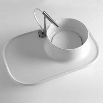 Aufsatzwaschbecken mit integriertem Regal aus farbiger Keramik - Uber