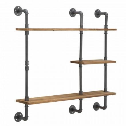 Wandregale im industriellen und modernen Stil aus Eisen und Holz - Katrine