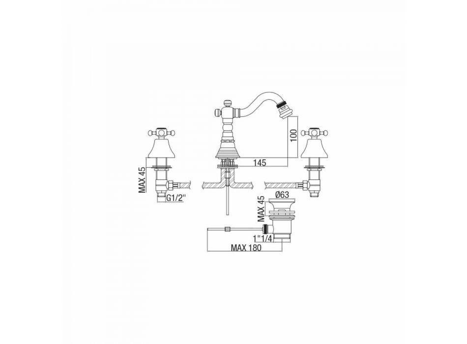 3-Loch-Bidetmischer in Messing Klassisches Design Made in Italy - Lisca