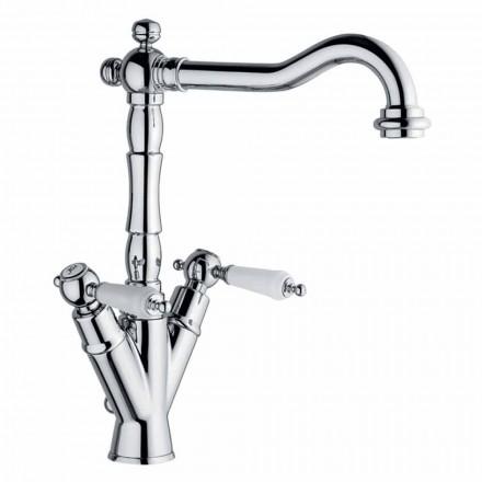 Einlochmischer für klassisches Waschbecken aus Messing Made in Italy - Shelly