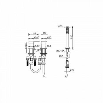 3-Loch-Badkantenmischer aus Messing Made in Italy - Panela