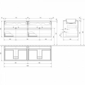 Abgehängte Badezimmermöbel mit doppelt eingebautem Waschbecken, modernes Design - Dumbo