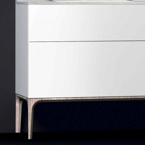 Badezimmerschrank mit integriertem modernen Waschbecken Bernstein, Harz und lackiertem Holz