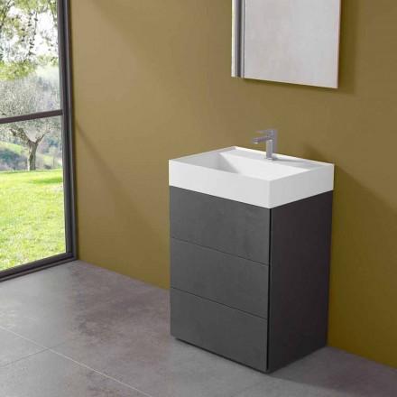 Modernes Design Boden Badezimmerschrank aus Laminat mit Harz Waschbecken - Pompei