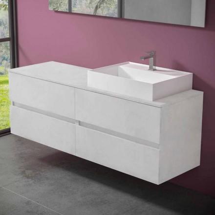 Abgehängter Badezimmerschrank mit Design Resin Countertop Washbasin - Alchimeo