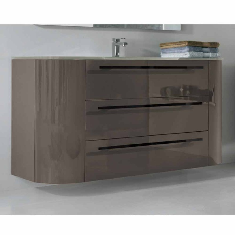 Abgehängte Badezimmerschrank 3 Schubladen + 2 Holztüren Happy, integrierte Spüle