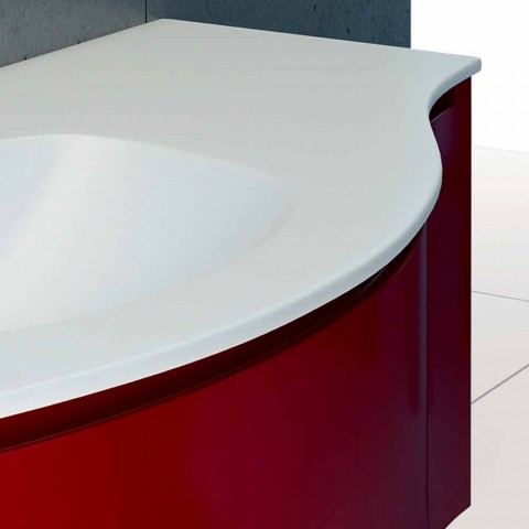 Abgehängte Badezimmerschrank mit integriertem Waschbecken, 1cestone + 2ante Gioia